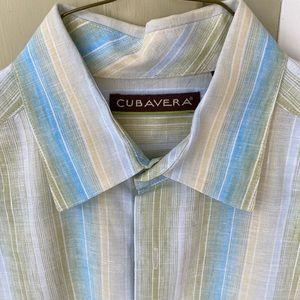 Men's medium short sleeve linen Cubavera shirt